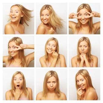 Collage di diverse espressioni facciali della donna. colpo dello studio.