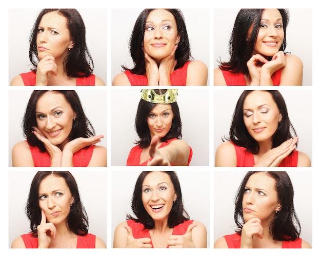 Collage di diverse espressioni facciali della donna