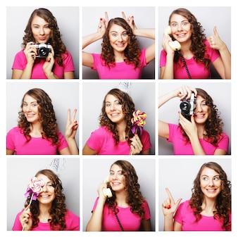Collage delle espressioni facciali differenti della donna