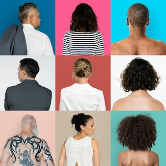 Collage di diverse persone lifestyle casual back side shoot