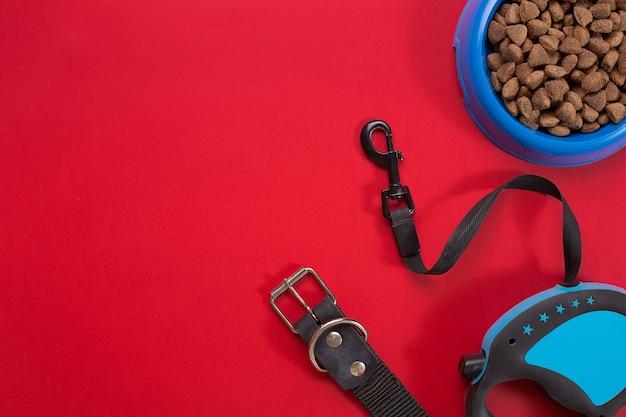 Collare, ciotola blu con mangime, guinzaglio e delicatezza per cani. isolato su sfondo rosso. vista dall'alto. natura morta. copia spazio
