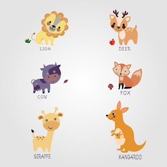 Raccolta di simpatiche illustrazioni di animali