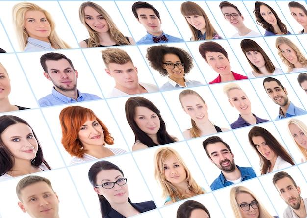 Raccolta di molti ritratti di uomini d'affari su sfondo bianco