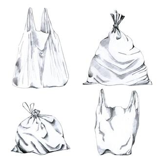 Raccolta di sacchetti di immondizia di plastica