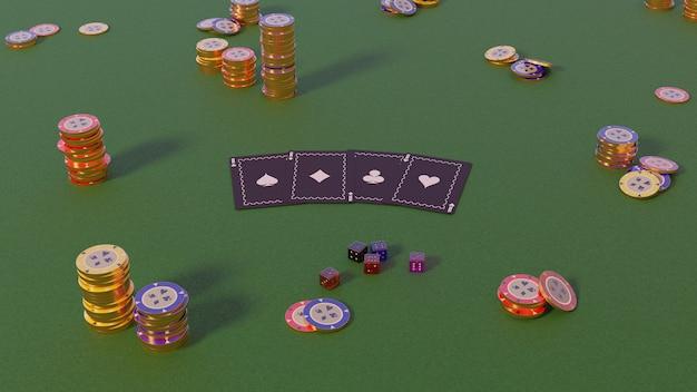 Collezione realistica di fiches del casinò isometrica, fiches da poker e dadi su verde, rendering 3d di giorno
