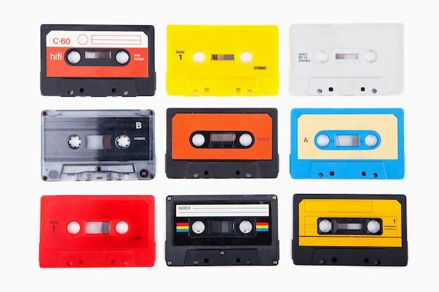 Collezione di cassette audio retrò