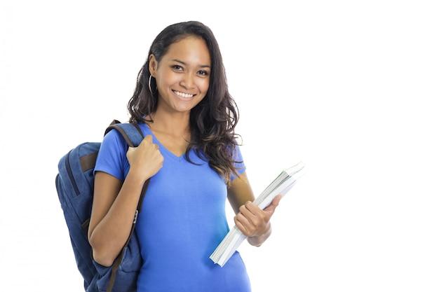 Zaino da portare dello studente di college e libri di trasporto