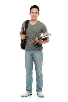 Studente universitario con libro e borsa