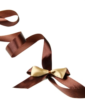 Fiocco di nastro di raso regalo di colore, isolato su bianco