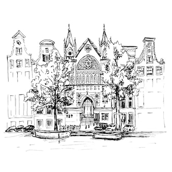 Disegno a mano a colori, vista sulla città di case tipiche di amsterdam, canale e chiesa, olanda, paesi bassi. fodera realizzata con foto