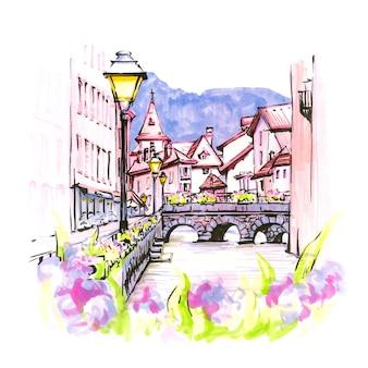 Disegno a mano a colori, vista sulla città del palais de l'isle e sul fiume thiou nella città vecchia di annecy, venezia delle alpi, francia. marcatori realizzati in foto