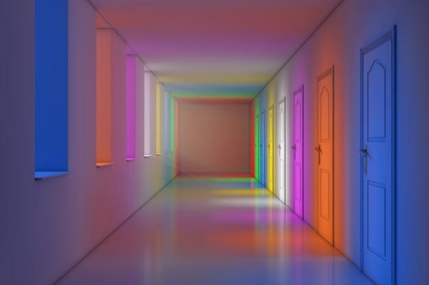 Luci di colore in primo piano estremo del corridoio lungo moderno dell'ufficio, della scuola, dell'hotel o dell'ospedale. rendering 3d