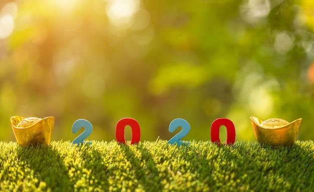 Colori il numero 2020 con la decorazione cinese del nuovo anno sopra l'erba verde nel fondo della sfuocatura del giardino