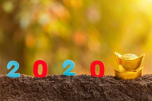 Numero di colore 2020 con decorazione cinese di nuovo anno in cima al mucchio di terreno in giardino sfocatura sfondo