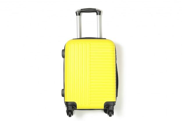Borsa da viaggio di colore isolata su bianco