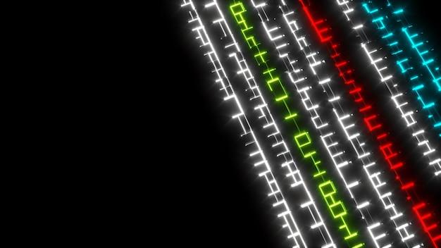 Color3d illustrazione del flusso di informazioni movimento in una futuristica lingua aliena al neon