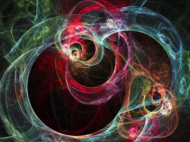 Curve e linee rotonde astratte colorate su fondo nero