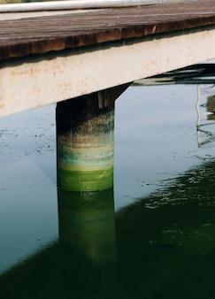 Colonna colorata del molo del ponte sul fiume da fioriture di alghe, superficie dell'acqua stagnante