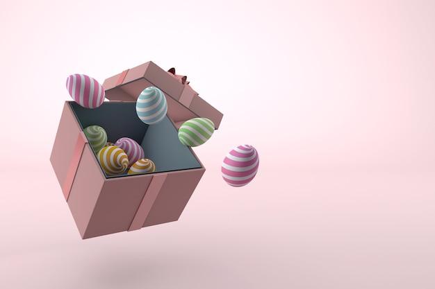 Uova di pasqua colorate e confezione regalo
