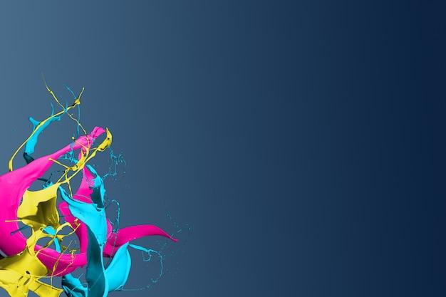 Spruzzi di vernice colorata isolati su sfondo blu