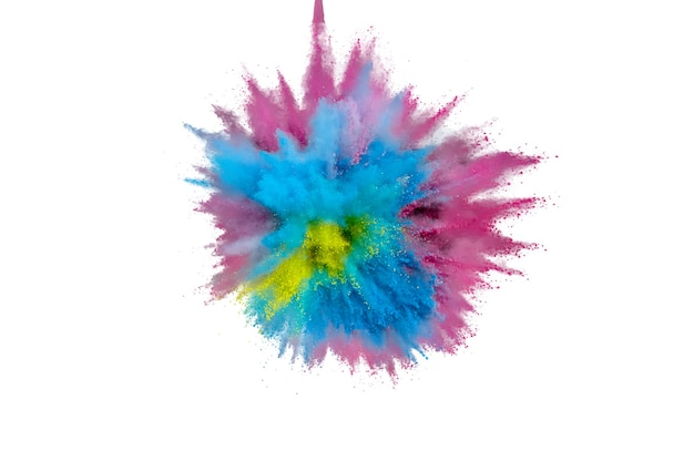 Esplosione di polvere colorata su sfondo bianco. polvere astratta del primo piano sul contesto. esplosione colorata. dipingi holi
