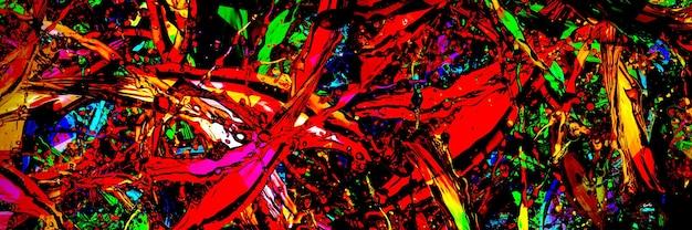 Spruzzi colorati in forma astratta, immagine panoramica