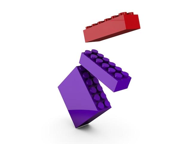 Mattoni giocattolo colorati su sfondo bianco 3d render