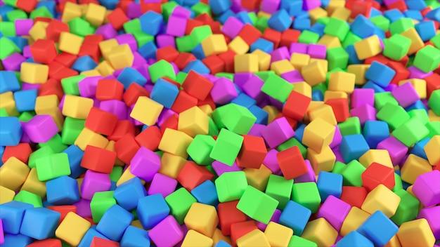 Illustrazione variopinta 3d da un mucchio dei cubi multicolori astratti