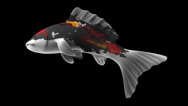 Pesce koi colorato rendering 3d con motivi di colore nerobianco arancione e rosso e vista laterale