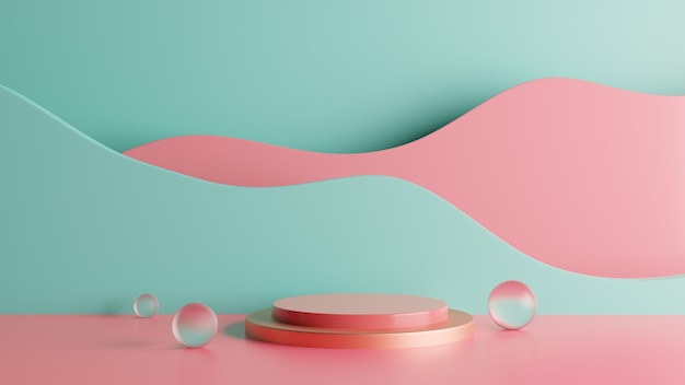 Sfondo di fase podio rendering 3d colorato con bolle. foto premium