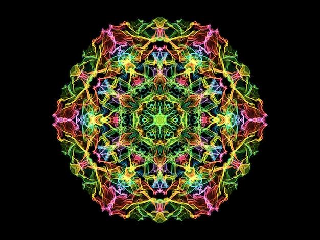 Fiore colorato mandala fiamma astratta, forma rotonda floreale ornamentale al neon