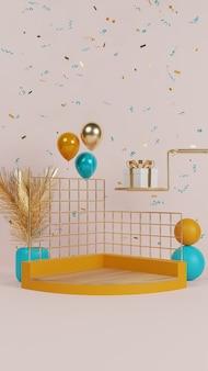 Podio astratto colorato con palloncino e confezione regalo