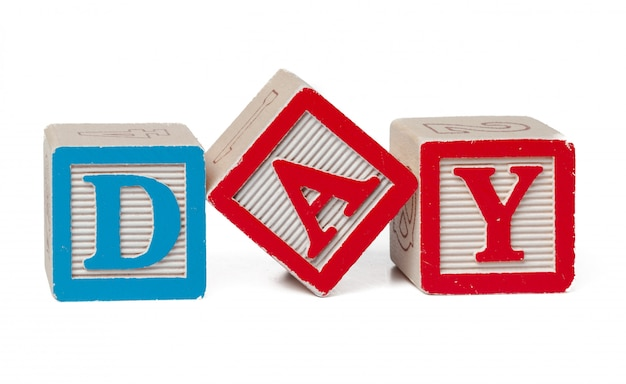 Blocchi alfabeto colorato. parola giorno isolato