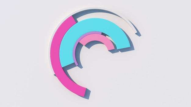Morphing di archi colorati. sfondo bianco. illustrazione astratta, rendering 3d.