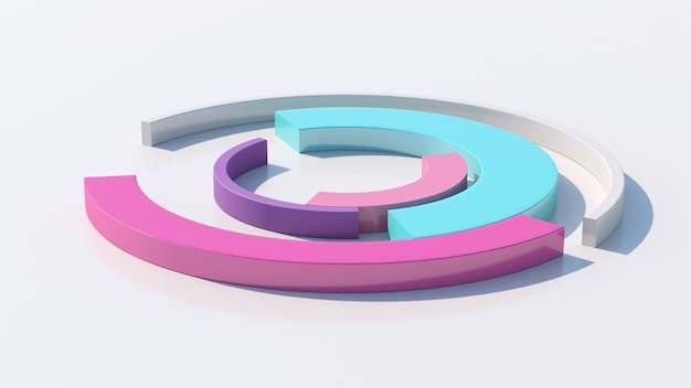 Morphing di archi colorati. sfondo bianco, primo piano. illustrazione astratta, rendering 3d.