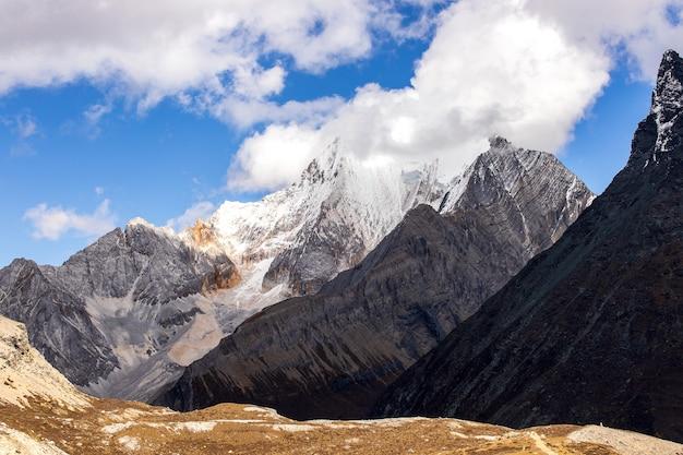 Colorato in autunno foresta e montagna di neve nella riserva naturale di yading l'ultimo shangri la