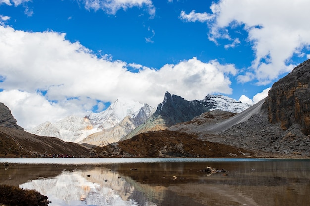 Colorato nella foresta di autunno e nella montagna innevata nella riserva naturale di yading, l'ultimo shangri la