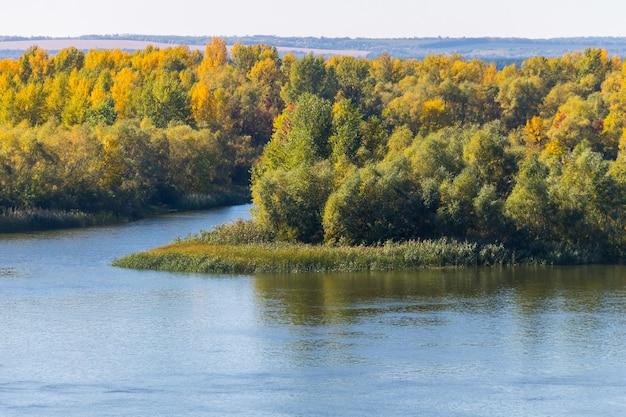 Colorati alberi autunnali sul lungofiume. paesaggio autunnale