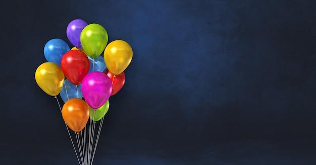 Mazzo di palloncini colorati su uno sfondo di muro nero. banner orizzontale. rendering di illustrazione 3d