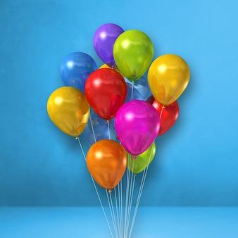 Mazzo di palloncini colorati su uno sfondo di parete blu. rendering di illustrazione 3d