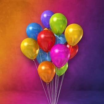 Mazzo di palloncini colorati su uno sfondo di parete arcobaleno. rendering di illustrazione 3d