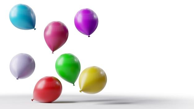 Palloncini colorati galleggianti su sfondo bianco.