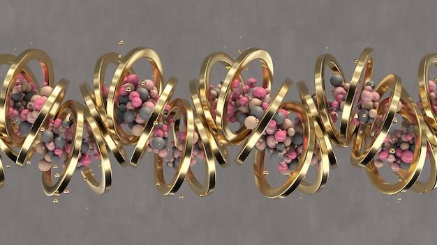 Palline colorate e anelli d'oro. illustrazione astratta, rendering 3d.