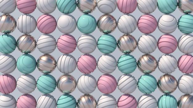 Sfere colorate rotanti. sfere rosa, blu, bianche e dorate. illustrazione astratta, rendering 3d.