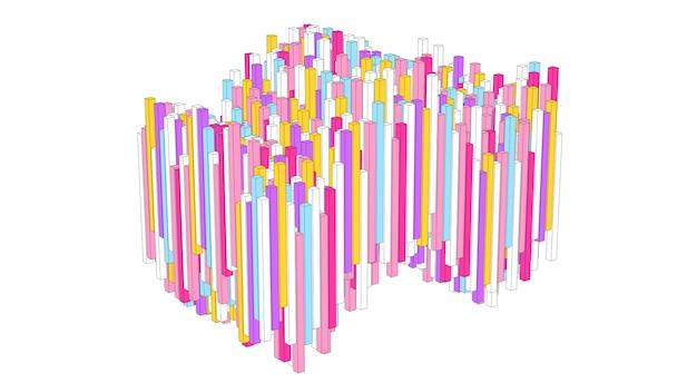 Blocchi colorati che fluttuano. effetto disegno schizzo. illustrazione astratta, rendering 3d.