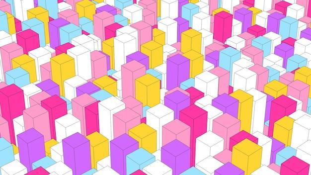 Blocchi colorati che fluttuano. effetto disegno schizzo, primo piano. illustrazione astratta, rendering 3d.