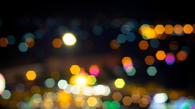 Sfondo colorato bokeh notte e luce.