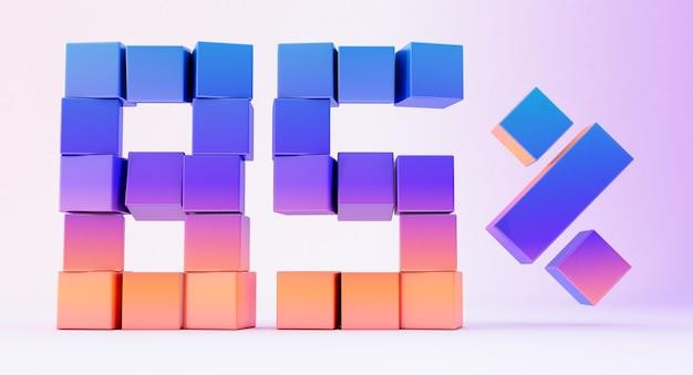 Scatole colorate che formano il numero ottantacinque isolati su sfondo bianco, rendering 3d
