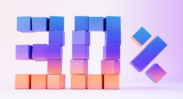 Scatole colorate che formano il numero trenta isolato su sfondo bianco, rendering 3d