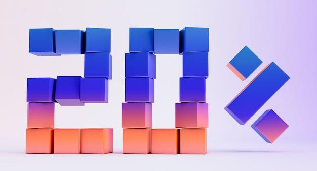 Scatole colorate che formano il numero venti isolati su sfondo bianco, rendering 3d